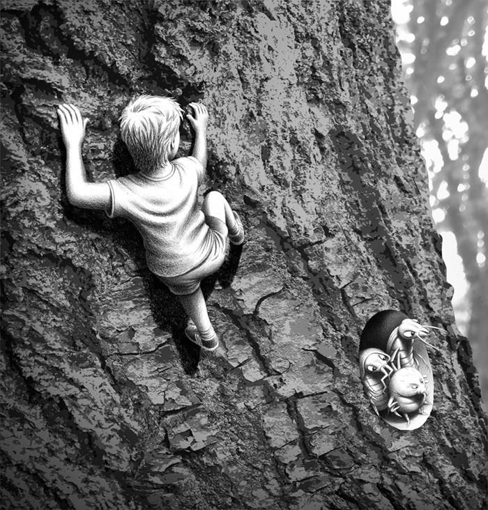 Tree climb BW